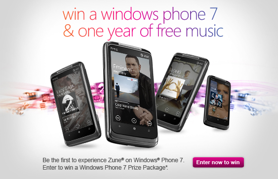 win a Windows Phone 7 and one year of free music